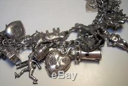 Bracelet À Breloques Art Deco En Argent Sterling 36 Rare Mobile Walter Lampl Chat 78.6gm