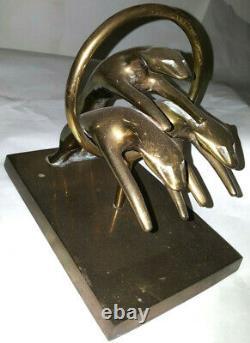 Brass Panther Jaguar Cougar Leopard Figurine Sculpture Hunting Big Cat Statue