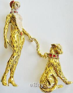 Broche Lady Leopard Vintage Erte Art Deco'giulietta ', Grand Chat Sur Laisse En Cristal