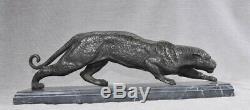 Bronze Art Déco Français Puma Panther Cat Statue Coulée