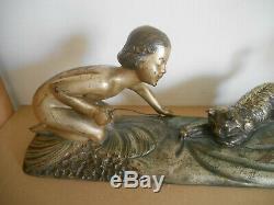 Bronze Charles Raphael Peyre Enfant Jouant Enfants De Chat Jouant Art Déco Chat