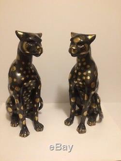 Bronze Ou Laiton Cat Cheetahs Art Déco Wildcat Sculpture Cheetha Statues 16