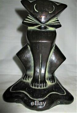 Bronze Rare Armure Antique Clad Bookends Art Déco Cubiste Kitten Cat Statue Hubley