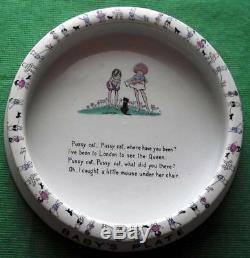 C1930 Shelley Bébé Plate Hilda Cowham Art Déco Chiens Chat Reine Poème