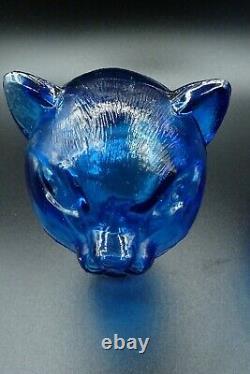 Carafe En Forme De Chat En Verre Bleu MCM Inspirée MCM 14 1/4 H