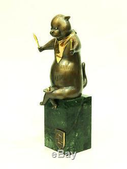 Cat Bronze Sculpture De L'auteur Piédestal Livraison Gratuite Vert Pierre Taille 13.7