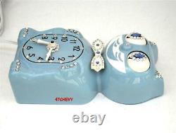 Cat Electric-blue-kit De 1960 Klock-kat Clock-original-vintage-re-built Motor+box