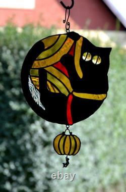 Cat Noir Citrouille D'halloween Suncatcher Verre Teinté Suncatcher Verre Teinté