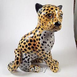 Céramique Grande Figurine Panther Jaguar Main Peinte Statue Vintage De Chat Figure