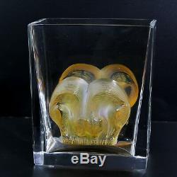 Charme Cristal Lalique Verre Ambre Asmara Blotti Félins Rectangulaire Vase