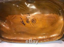 Chat En Porcelaine Vintage Assis Sur Oreiller Support Fait En Italie 8h X 11w X 5 1/2 D