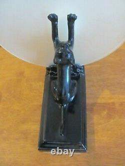 Chat Noir Art Déco Vintage Au Verre Givré De Lune 11 Lampe Électrique Haute