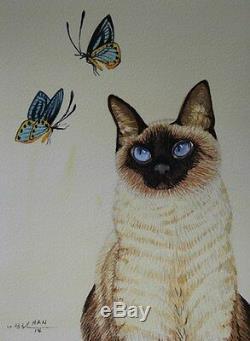 Chat Siamois 5, Papillon, Peinture Aquarelle Originale, Signée, Wall Art Déco
