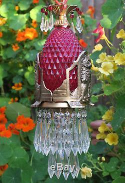 Chat Swag Lampe Chandelier Lustre Tole En Laiton Verre Rubis Perle De Cristal Epoque Art Deco Époque