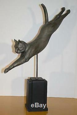Chat Vintage Statue De Saut En Alliage Art Déco Mod Beau Métal Blanc