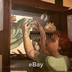Chats Dans La Sécurité Pie. American Art-deco Huile Sur Toile, 1920 Anonyme. L @@ K