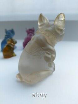 Collection De Six Czech Glass Vintage/antique Dog/cat Charm/cracker Prize