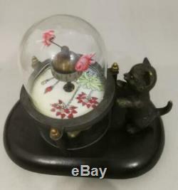 Collection Décorée Vieux Handwork Cuivre Sculpté Chat Poisson Mécanique Tableau Horloge