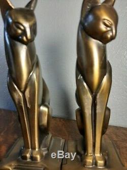 Couleur Vintage Bronze Art Déco Cubiste Égyptien Chat Siamois Bookends Frankart Era