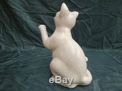 Craquelé Art Déco Porcelaine Art Nouveau Style De Faune Cat Figurine Sta