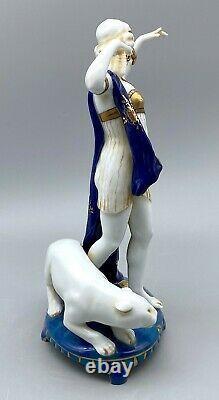 Danseur Art Déco Antique Nouveau Avec Le Chat Rare