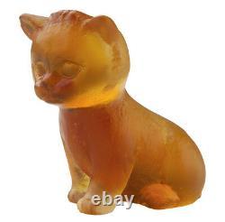 Daum Cristal Chat Mini Assis Chaton Ambre #05330/c Brand New In Box Économisez$$ F/sh