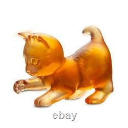 Daum Crystal Mini Kitten Jouer Amber #05263/c Brand New In Box Cat France F/sh