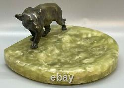 Déco Autriche Peinture Froide Statue Bronze Lionne Panther Cat Green Onyx Plateau Plat