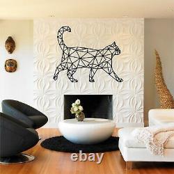 Décor De Chat En Métal, Art Géométrique De Chat, Silhouette De Mur, Décor De Mur En Métal 5263
