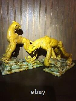 Dernière Chance Lot De 2 Statues Vintage Amber Royal Haeger Tiger Lion Big Cat