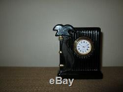 Dior Vintage Christian Art Déco Cristal Noir Tableau Horloge Avec Cat Made In Japan