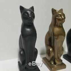 E F Eugénie Frederica Shonnard Bronze Cat Seated Égyptien Bast 1949 Santa Fe Nm