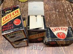 Early Set 4 Nos Cats-eye No. 15 Art Déco Marqueur Trafic De Lampe Camion Vintage
