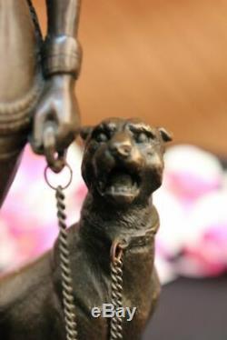 Egypte Nue Reine Cléopâtre Et Big Cat Bronze Art Déco Par La Cire Perdue Méthode Figure