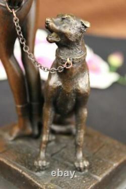 Egypte Nue Reine Cléopâtre Et Big Cat Bronze Art Déco/nouveau Sculpture Figure