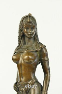 Egypte Nue Reine Cléopâtre Et Big Cat Bronze Art Déco/nouvelle Sculpture Statue