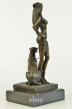 Egypte Nue Reine Cléopâtre Et Bronze Art Déco Big Cat / Nouveau Sculpture Statue