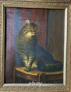 Emmenegger Peinture À L'huile 1932 Magnifique Cadre ° Chat Sur Une Chaise Antique