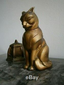 Encrier Cat Antique Art Déco Marbre Et De Bureau En Métal 1930 Félin Animal