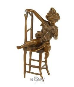 Enfant Avec Cat Chaise Solide Véritable Hotcast Bronze Figure Voir Mes Autres Articles
