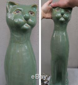 Énorme! Poterie Vintage Chat Émaillé En Jade Figurine Art Déco Inspir Quel Personnage