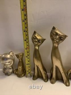 Ensemble En Laiton Vintage De 8 Chats Figurines Siamoises Tall Neck Art Déco MID Century