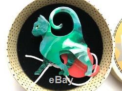 Erstwilder On The Prowl Vert Broche Chat Acrylique Rétro Vintage Art Déco Kitten