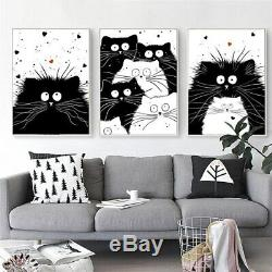 Fat Cats Noir Et Blanc 3 Pcs Toile Imprimée Accrochage Poster Décoration Intérieure