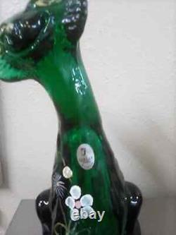 Fenton Glass Animal #39/100 Emerald Green Alley Cat Par Rosso HP D. Cutshaw