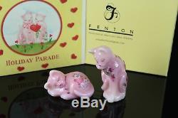 Fenton Glass Cat Figurine Rosalene Parade Des Fêtes Saint Valentin Chaton Rose