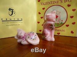 Fenton Verre Saint Valentin Holiday Parade Rosalene Cat Kitten Set Qvc # Co3566
