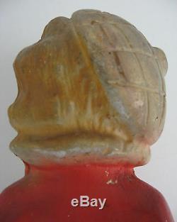 Figurine De Figurine De Chalkware Vintage Marin Des Années 30 Art Déco Blonde Sailor Flapper Fille Chat