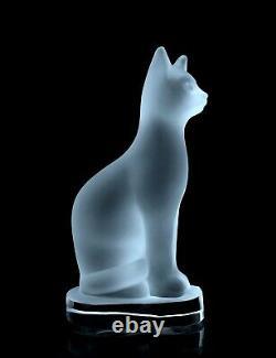 Figurine Glamour De Grand Chat En Verre De Satin De Sculpture Art Déco