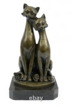 Figurine Originale Signée En Bronze De Chat Sur Les Chats De Base Art Déco Deux Sculptures De Chat